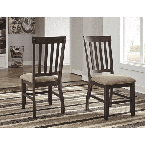 Dresbar - Grayish Brown - 7 Pc. - Rectangular Table & 6 Upholstered Side Chairs