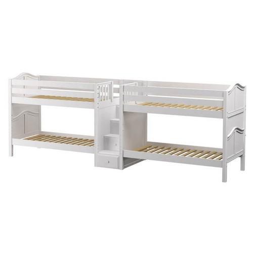 Quadruple Bunk Bed with Staircase in Middle : Twin : White : Curved in White finish