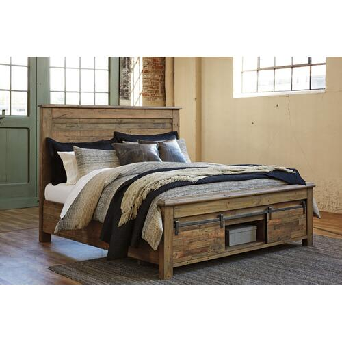 King Panel Bed with Footboard Storage