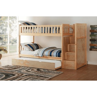 Bartly Bunk Bed Twin on Twin with Reversible Step Storage with Twin Trundle