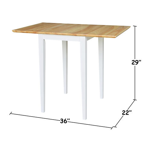 """Square 36"""" Drop Leaf Table White and Natural"""