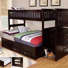 Espresso Stair Stepper Twin over Full Bunk Bed