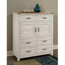 Highlands 6-Drawer/2 Door Chest in Aged White Finish