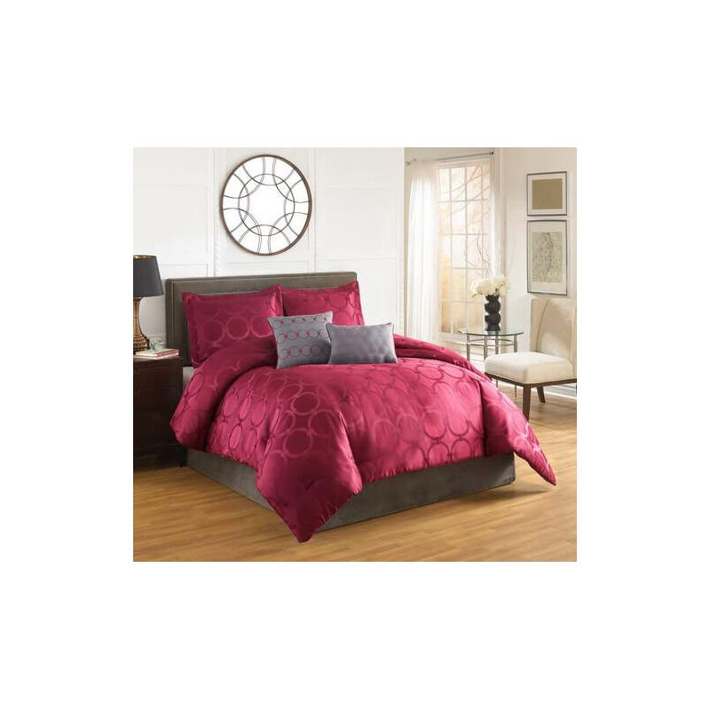 Arianne Red Circles Comforter Set King 5pc & Queen 5pc