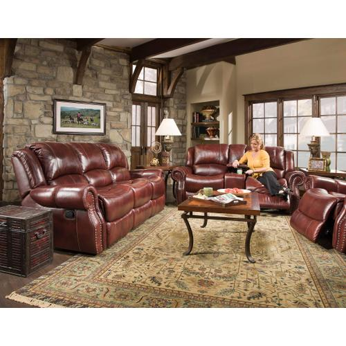 Softie Oxblood Leather Reclining Sofa and matching gliding console loveseat.