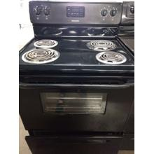 Black Frigidaire Electric Coil Range (This may be a Stock Photo, actual unit (s) appearance may contain cosmetic blemishes. Please call store if you would like additional pictures). This unit carries our 6 Month warranty, MANUFACTURER WARRANTY and REBATE NOT VALID with this item. ISI 37438 W