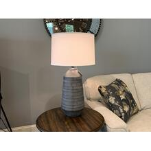 Diagonal Lines Decorative Table Lamp with Drum Shade