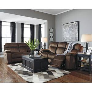 Uhland- Chocolate Power Reclining Sofa and Loveseat w/ Adjustable Headrest