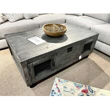 See Details - Industrial Cocktail Table - Grey w/ Wheels