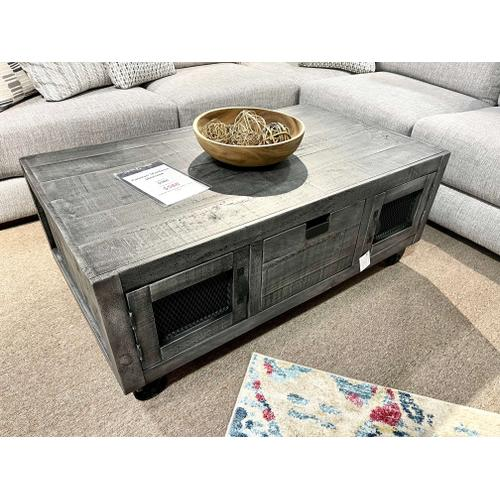 Elements - Industrial Cocktail Table - Grey w/ Wheels