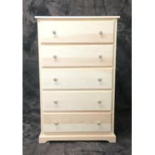 """Maine Made 5 Drawer Chest 30""""W x 48""""H x 18""""D Pine Unfinished"""