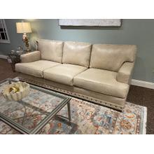 Cream Leather Sofa with Nailhead Trim