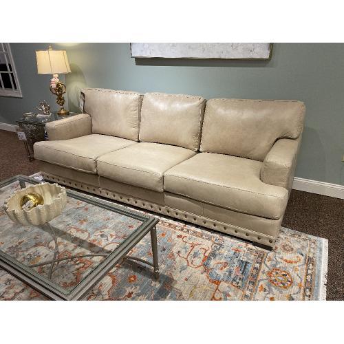 Mayo Furniture - Cream Leather Sofa with Nailhead Trim