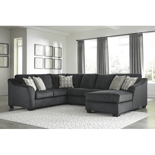 Eltmann - Slate - 3-Piece Sectional with Right Facing Chaise