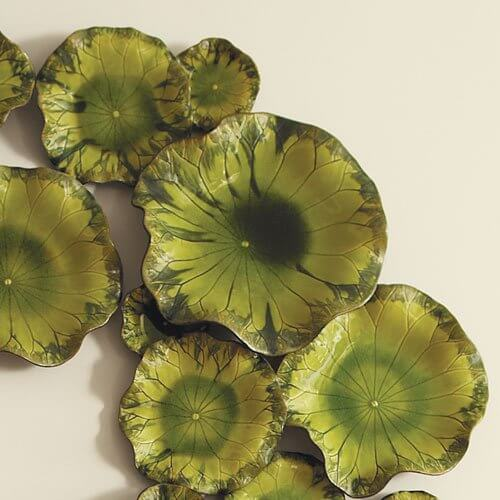 """Free Formed Lily Plate-Green-15"""""""