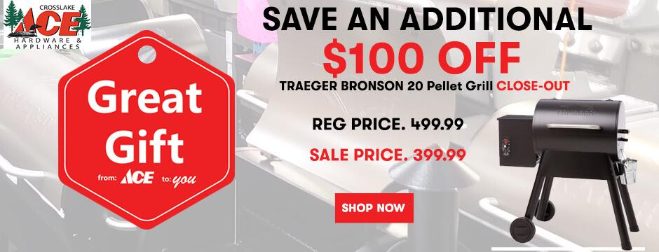 TRAEGER BRONSON  20 PELLET BRILL CLOSE OUT