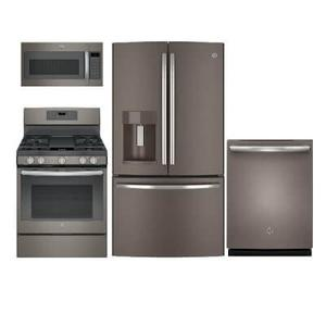 GE 4-Piece Slate Appliance Package with Gas Range