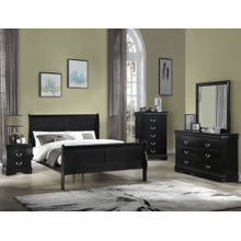 CrownMark 4 Pc Queen Bedroom Set, Black Louis Philip B3900