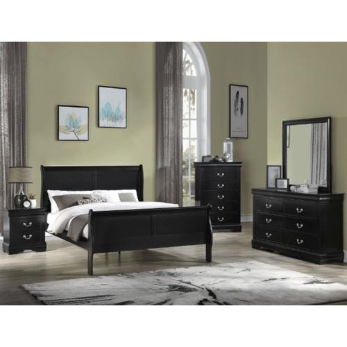 CrownMark 4 Pc Queen Bedroom Set, Black Louis Philip B3900