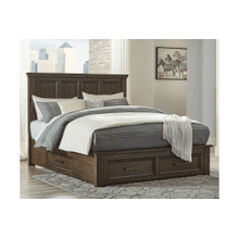 Johurst - Grayish Brown - Queen Panel Bed with 4 Storage Drawers