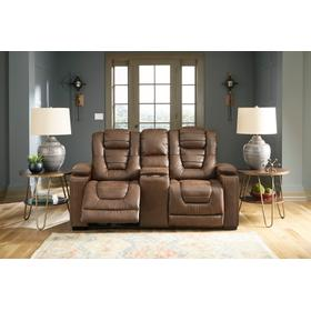 Owner's Box Power Reclining Loveseat With Console Thyme