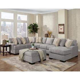 See Details - Derby Silver RAF Chaise Sectional
