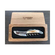 Laguiole en Aubrac Stainless Steel Shiny Sommelier Waiters Corkscrew  with Warthog Tooth Handle