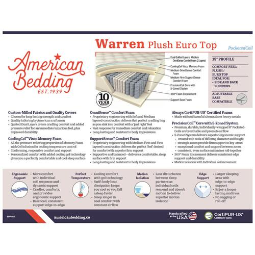 "Corsicana - American Bedding - Warren - 15"" Plush Euro Top"