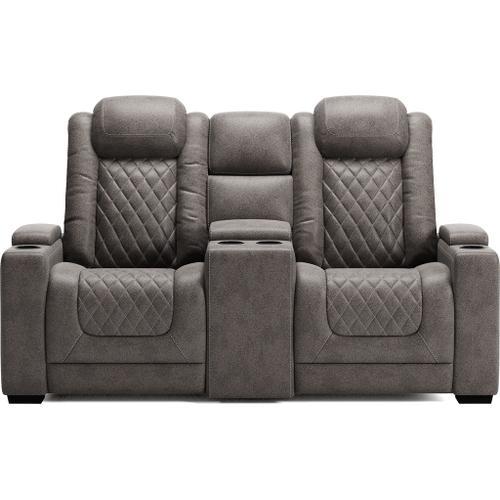 Ashley Furniture - ASHLEY 9300318 Hyllmont Gray Power Reclining Loveseat