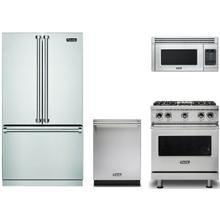 """View Product - Viking Four Piece Kitchen with 30"""" Range and Free Standing Refrigerator"""