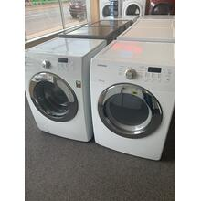 Refurbished White Electric Samsung Washer Dryer Set. Please call store if you would like additional pictures. This set carries our 6 month warranty, MANUFACTURER WARRANTY AND REBATES ARE NOT VALID (Sold only as a set)