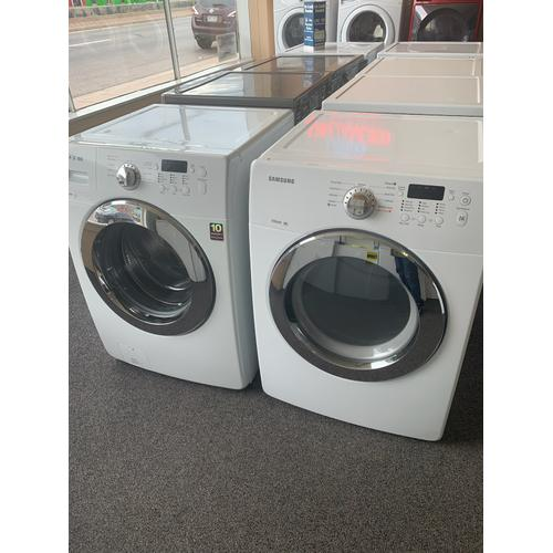 Packages - Refurbished White Electric Samsung Washer Dryer Set. Please call store if you would like additional pictures. This set carries our 6 month warranty, MANUFACTURER WARRANTY AND REBATES ARE NOT VALID (Sold only as a set)