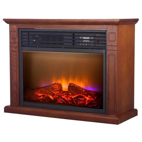 WORLD HEATER QF4570R Mobile Quartz Electric Fireplace with Real Flame Technology
