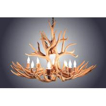 REAL 8 Light Oval Mule Deer Antler Chandelier