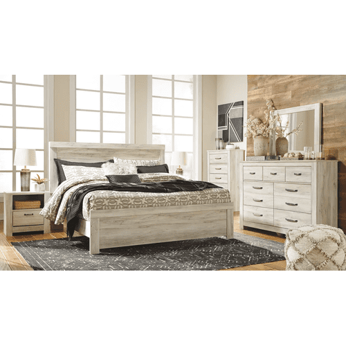 Bellaby- Whitewash- Dresser, Mirror, Chest, Nightstand & King Panel Bed