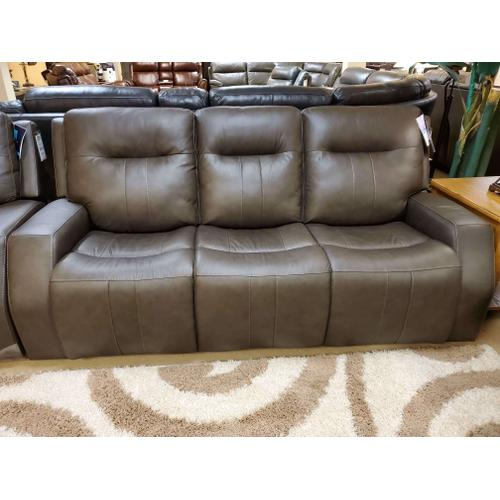 Duke Triple Power Reclining Sofa with Power Headrests in Graphite Leather