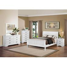 Louis Philippe White Qn Bed, Dresser, Mirror and Nightstand