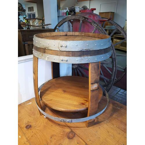 Wine Barrel Side Table