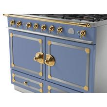 See Details - CornuFe 110 Induction Range - Provence Blue with Stainless Steel and Polished Brass Trim