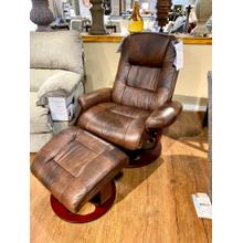 Whiskey Pedestal Recliner Chair w/ Ottoman