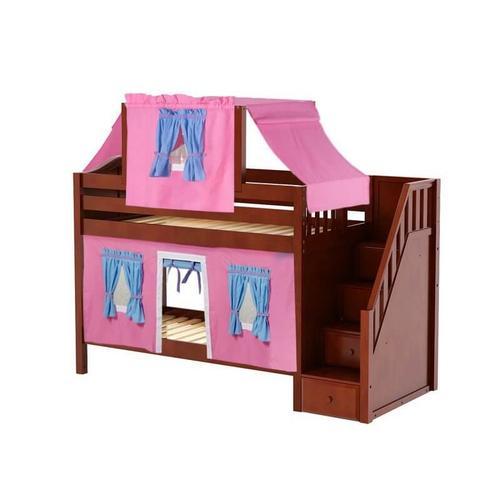 Low Bunk Bed with Staircase on End, Top Tent & Curtain in Chestnut finish