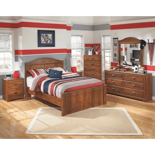 Barchan- Medium Brown- Dresser, Mirror, Chest, Nightstand & Full Panel Bed