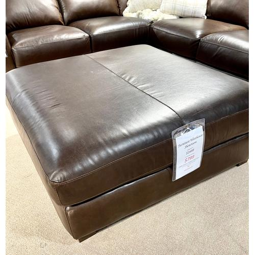 Soft Line - Everest Italian Leather Ottoman in Chocolate