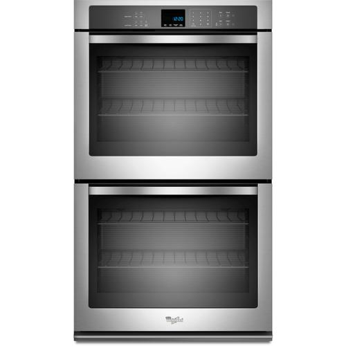 """Whirlpool 5.0CF Upper Oven and 5.0CF Lower Oven Stainless Steel 30"""" Double Wall Oven with Self Clean"""