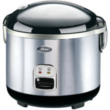 View Product - Oster 4724 10-Cup uncooked resulting in 20-Cup cooked Rice Cooker, Stainless Steel, White/Black