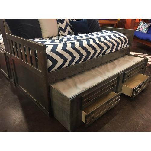"Full Captains Bed W"" Trundle & Drawers Rustic Grey"