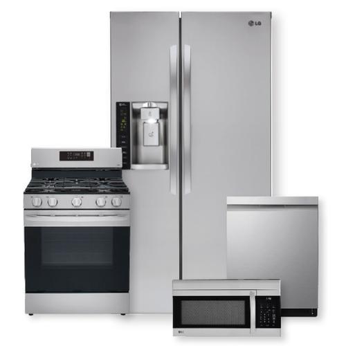 26 cu. ft. Side-By-Side Refrigerator & 5.8 cu ft. Smart Wi-Fi Enabled Fan Convection Gas Range Package