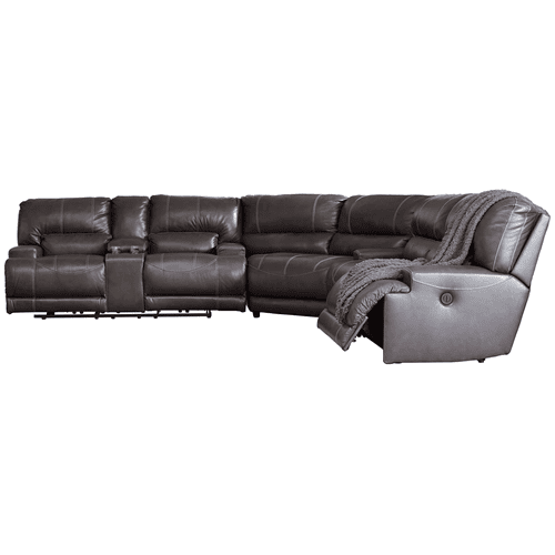 McCaskill - Gray - 2 Power Recliner Sofa, Double Reclining Power Loveseat with Console. and Oversized Wedge Sectional