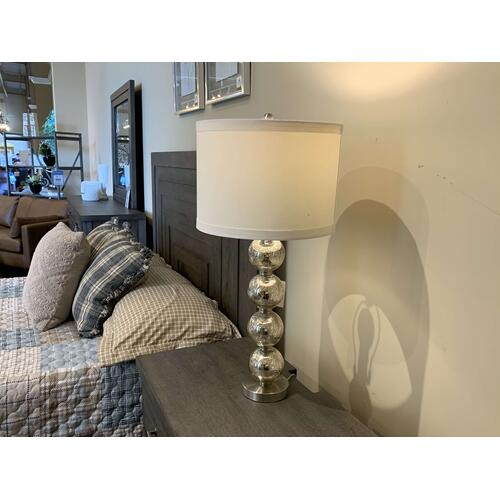Shiny Metallic Spherical Table Lamp with Drum Shade