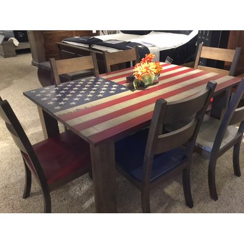 Kountry Knob - Patriotic Table and 6 Chairs in Solid Maple